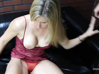 Hussyfan cum Son fuck not her mom on bed and cum inside
