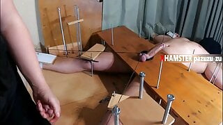 Femdom Feet Torture +Handjob +Ruined Orgasm with Tied Balls
