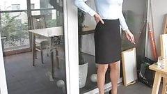 Slinky Crossdresser Simone Ready For The Office