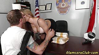 Busty pornstar banged in stockings