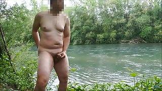 Risky public wank at the riverside