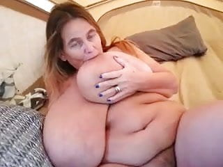 Mature suduces boy vids Granny sucking her gigantic boob, short vid