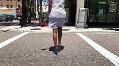 Ebony VPL in A Very Tight Striped Dress