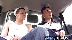 Picked up twink rides cock and finishes off with jerking off