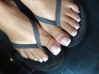French pedicure porn Porche davis long french pedicure toenails