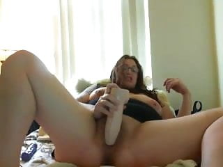 Masturbating for orgasm fat - Fat babe with glasses fucking herself with huge dildo