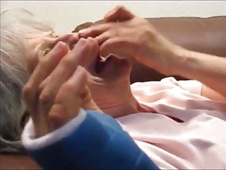 Grandma cum swap mom - White hair grandma sucking cock and drink cum