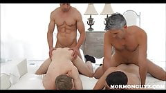 Young Mormon Twinks Foursome With Two Daddies In Church