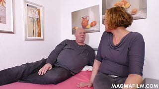 Milf giving blowjob to a fat guy