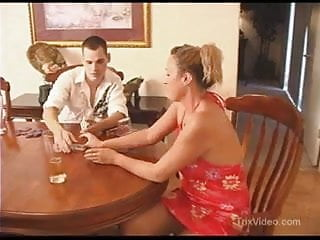 Game pleasure Mom fucks sons friend during a poker game