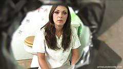 Teen pornstar Olivia Wilder gives doctor blowjob glory hole