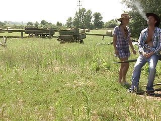 Farm blowjob - Sexy farm girl gets hard anal fuck outdoors