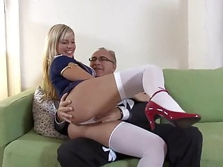 Blondy naked Old man and a blondie