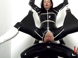 Latex polyurethane - Massive squirting while ass fucking with anal creampie