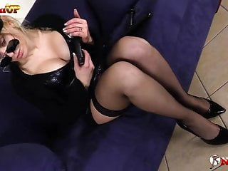 Police woman lesbian Blonde police woman in stockings masturbates and shows feet