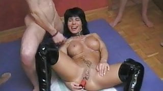 Pierced German MILF with vibrator up her ass hole