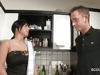 Hot lesbin teens - German step-son seduce hot milf mother to fuck in kitchen