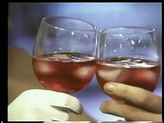 Vintage drinking glassware - Hot blonde drinks with guy and wraps her lips around his throbbing cock