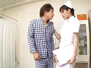 Hesitant lesbians Oriental nurse does not hesitate on the cock