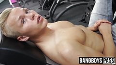Young muscular blond gay barebacked after working out