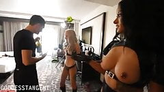 Two mistresses show the slave his place