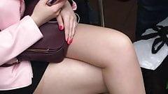 teen pantyhose on train