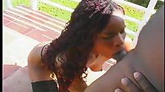 Pretty Ebony give blowjob on balcony