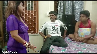 Indian sexy land lady fucked by two young bachelor,