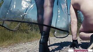 SugarNadya walks her personal sex slave