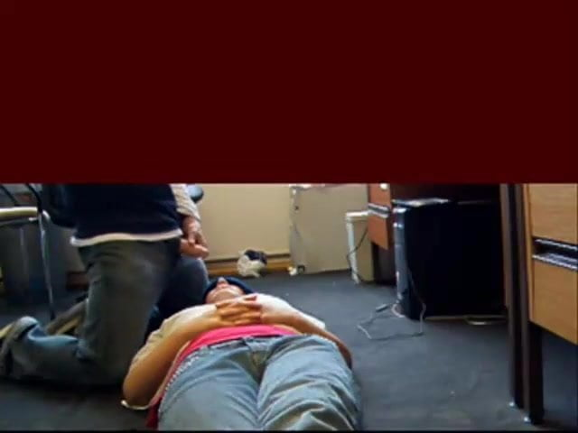 Teen blindfolded lying on floor taking a facial cumshot