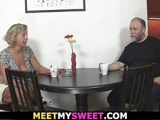 Older mom porno - Older mom seduces his new gf into family sex