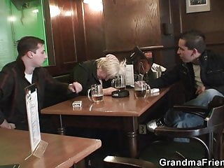 Drunk mature pics - Two buddy pick up drunk big tits blonde old lady