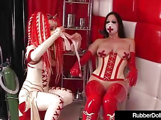 Dental gloves latex supply - Latex babe rubber doll abuses succubus with dental sex tools
