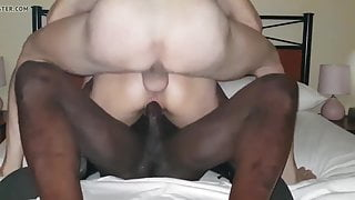 Milf squirts over bbc balls while getting a dp