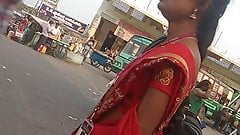 Tamil hot teacher showing her small side boobs in public