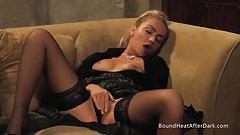Mistress Masturbating While Watching Two Naked Slaves