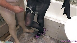 Mega cumshot on black skirt