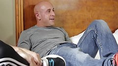 Stocky muscle bald jerk off and play with sex toys