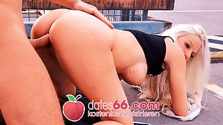 Filthy car park fuck with blonde chick Angel! Dates66.com