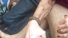 Skinny granny Sue stroking on a cock