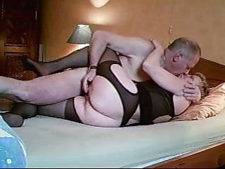 Black hose on the strip Amateur homemade granny in black open hose fucks