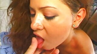 Curious latin babe with red hair likes use couple of new toy