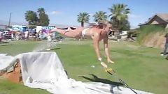 Dumb girl loses bikini on water slide at Coachella
