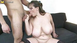 MOM with big saggy tits fucks young boy