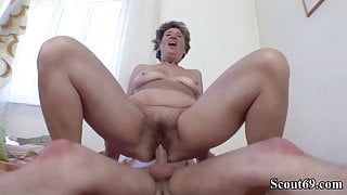 73yr old Hairy Granny Seduce to Anal Fuck by 18yr old Boy