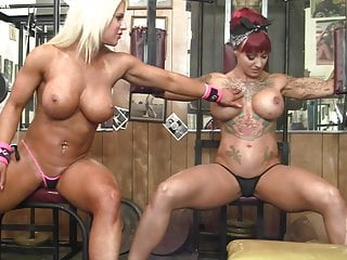 Naked females mastubating Naked female bodybuilder muscle lesbians in the gym