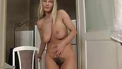Busty milf Vanessa rubs her hairy pussy, upscaled to 4K