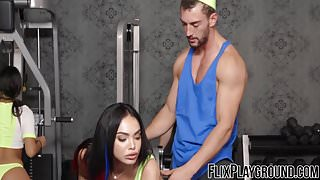 Lucky guy thrusts his monster fuck stick in delicious cunt