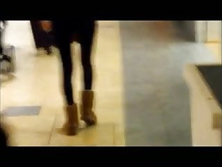 Ass in skin tight latex - Super tight ass hottie in skin tight black leggings