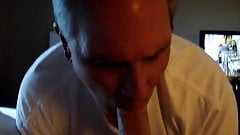 Married submissive cocksucker giving room service